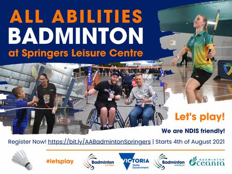 All Abilities Badminton at Springers Leisure Centre