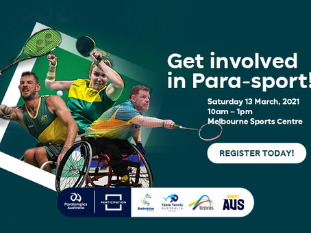 Come and Try Para badminton, Wheelchair tennis & Para-table tennis with Paralympics Australia