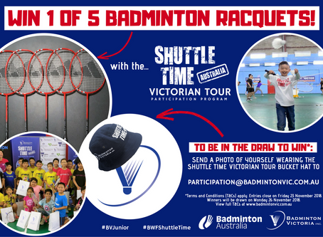 Win a Badminton Racquet - with Shuttle Time Victorian Tour!