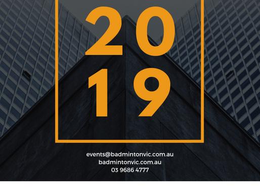 2019 Calendar - Badminton Victoria