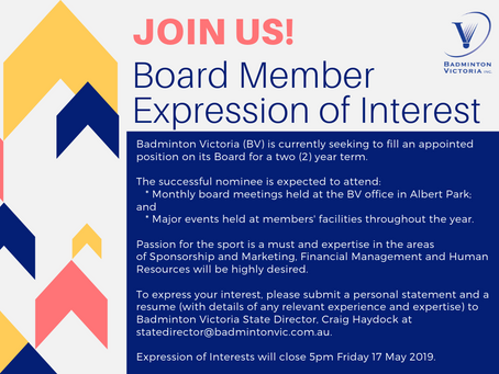 Join the Board of Badminton Victoria in 2019!