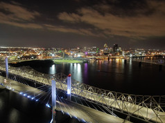 Downtown Louisville and bridges just after sunset
