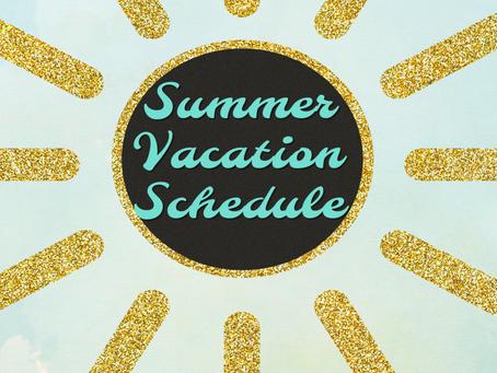 2019 Summer Shutdown Schedule