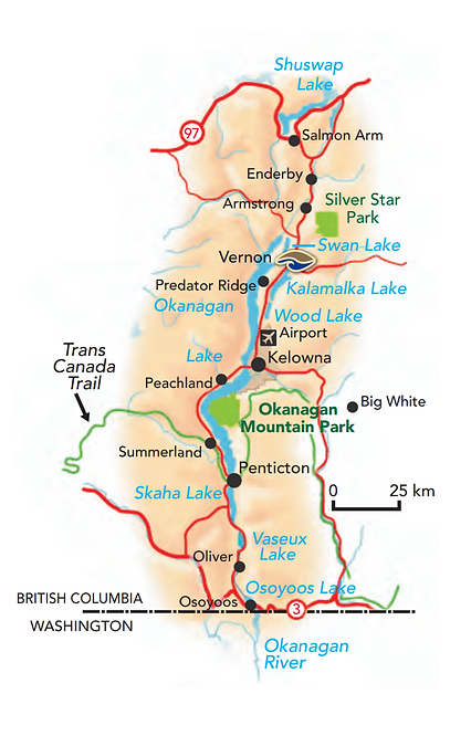 Map of Lake Country BC Canada