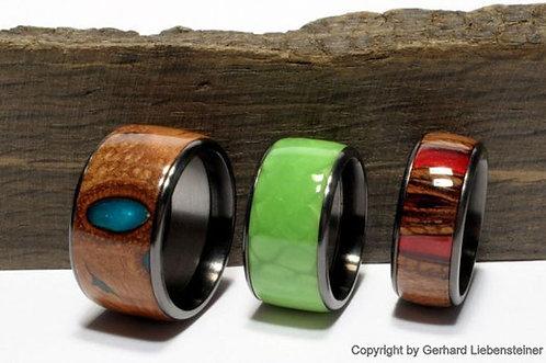 Holzring mit Edelstahl-Einfassung, Anthrazit-Seidenglanz Oberfläche