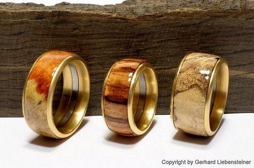 Holzring mit Edelstahl-Einfassung, 24K Gold-Seidenglanz Oberfläche