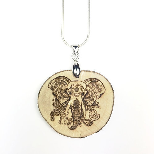Elefant Mandala mit 925er Silberkette