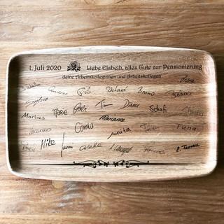 Lasergravur Holz Serviertablett