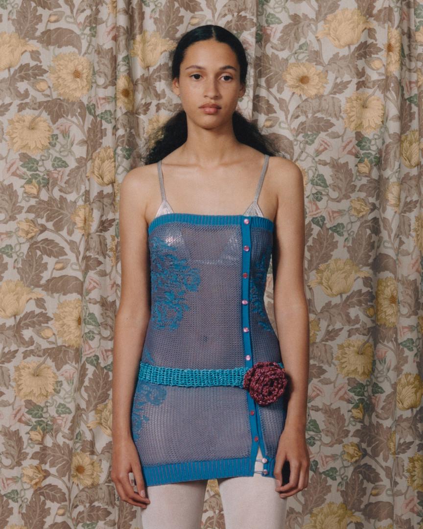 Jen in the reverse lace cardi dress