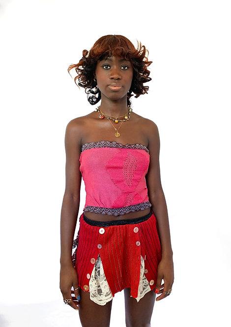 Ce Soir: Button Up Lace Mini Skirt