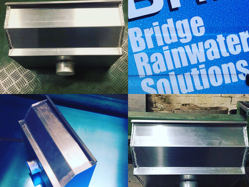 Architectural Aluminium Hoppers.  Designed and produced by Bridge Rainwater Solutions.