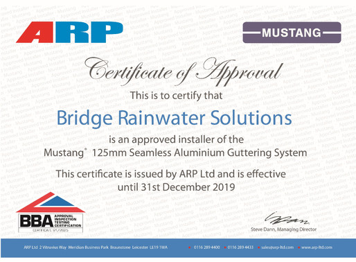 Bridge Rainwater Solutions - Approved Mustang fitters again!