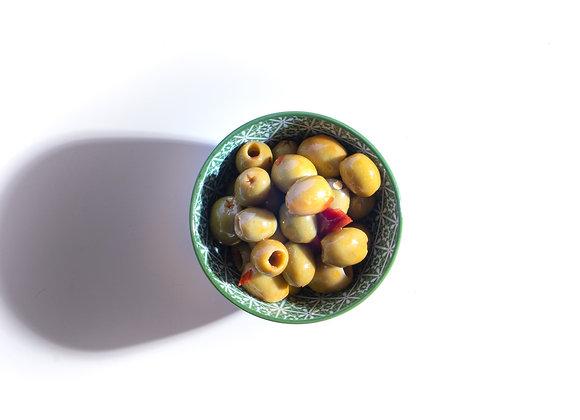 Pikante groene olijven