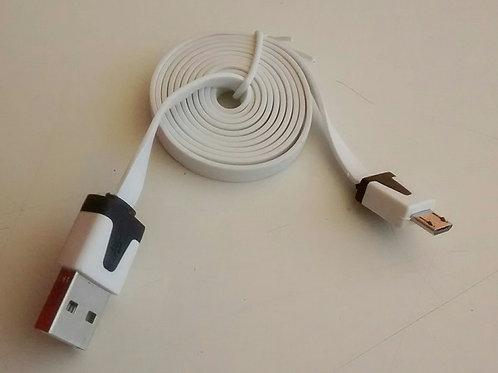 Cabo adaptador fita USB flat AM x micro USB V8 branco  1 mt
