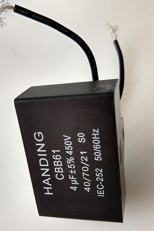 Capacitor  Poliester de Ventilador CBB61 4UF X 450VAC Retanguiar marca HANDING