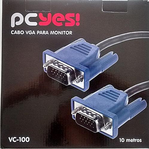 Cabo RGB VGA Monitor  DB15 M  Macho X DB15 Macho com Ferrite 10m  marca Pcyes