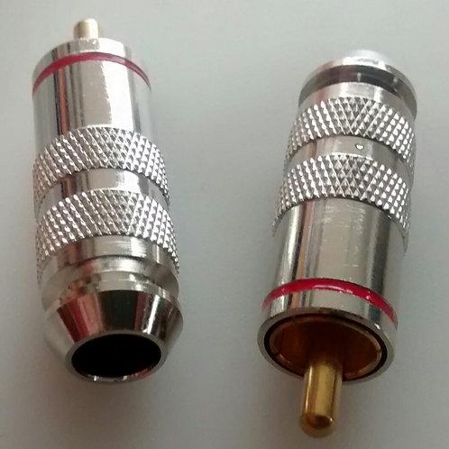 Plug RCA macho cromado vermelho 7mm