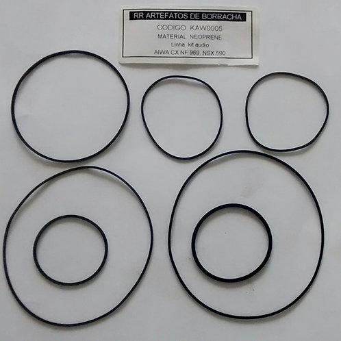 Kit correia Som AIWA CX NF 969  NSX 590 e outros modelos  KAW0005  Com 07 Pc