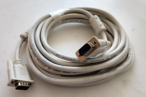 Cabo VGA macho DB15  DB15 Branco com filtro  5 mt