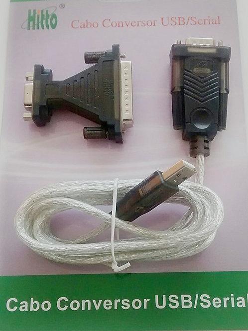 Cabo conversor USB AM para serial DB9 com adaptador DB25  URS232B 18m