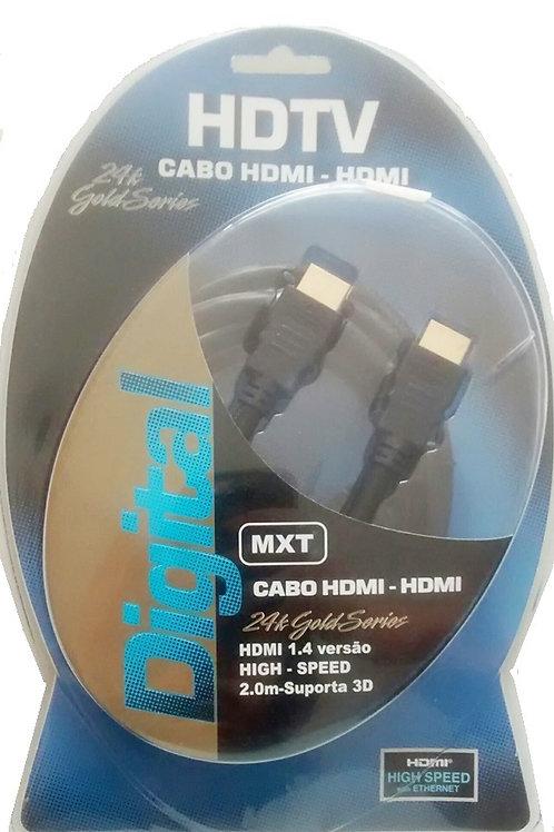 Cabo HDMI x HDMI 14 com ferrite suporta 3D  24k Gold series  02 metros