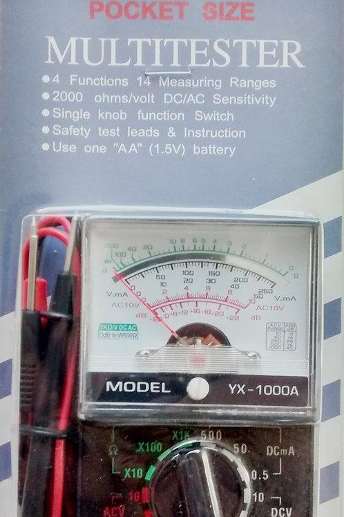 Multimetro analogico mini modelo YX1000A marca Multitester