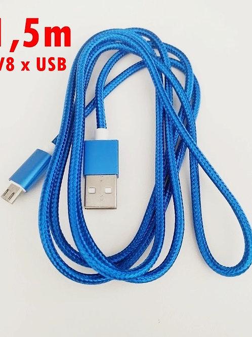 Cabo USB A Macho X USB Micro 5P  V8 15MT Azul Naylon