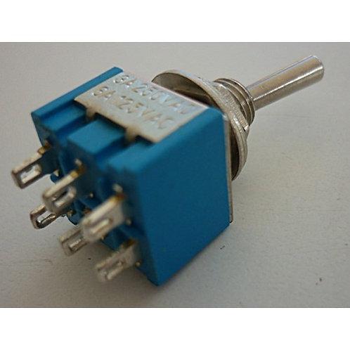 Chave Mini ON  OFF  2 posicoes Sterereo com 6 polo azul 3amp