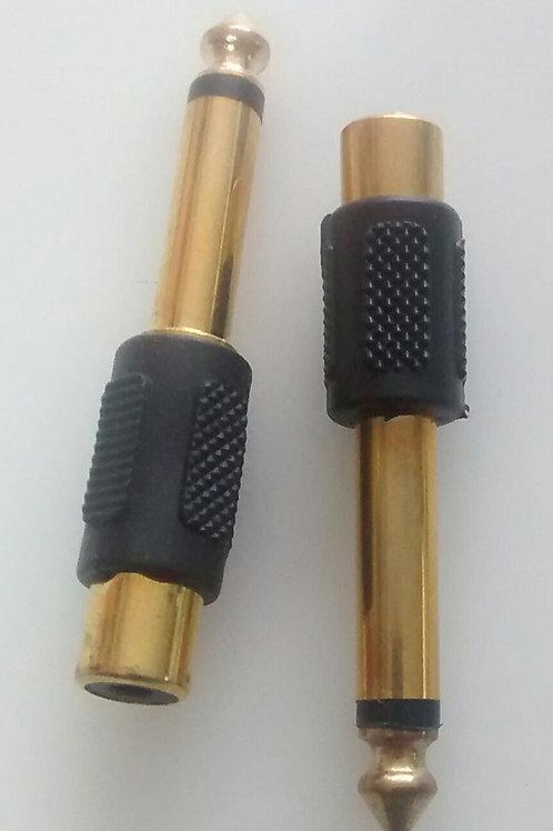 Adaptador P10 mono x RCA femea todo dourado
