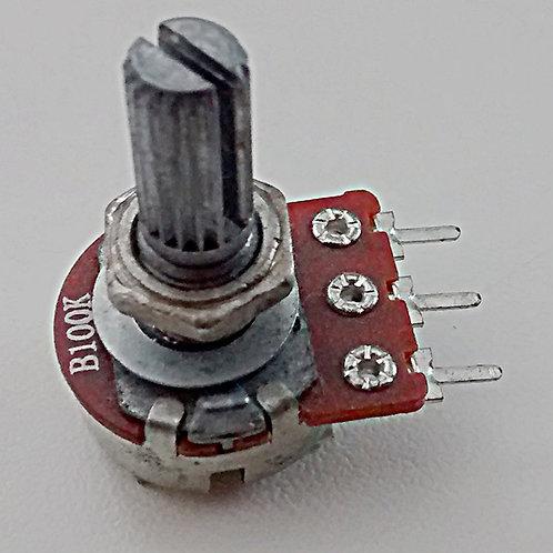 Potenciometro simples 100kA sem chave com 3 terminais linear  eixo de 20mm