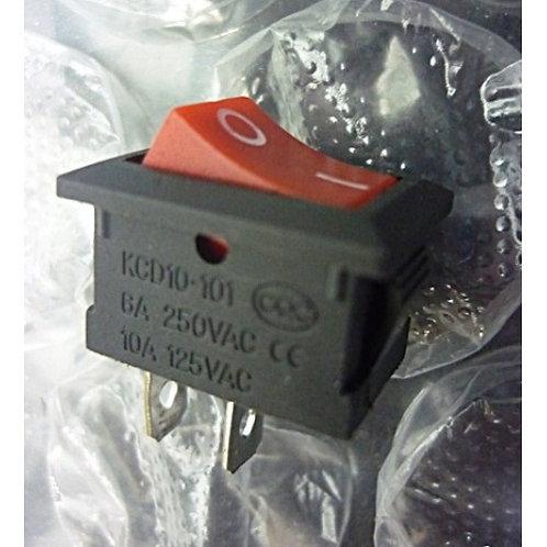 Chave tecla gangorra vermelha 2 polos  KCD10101 6A  250V