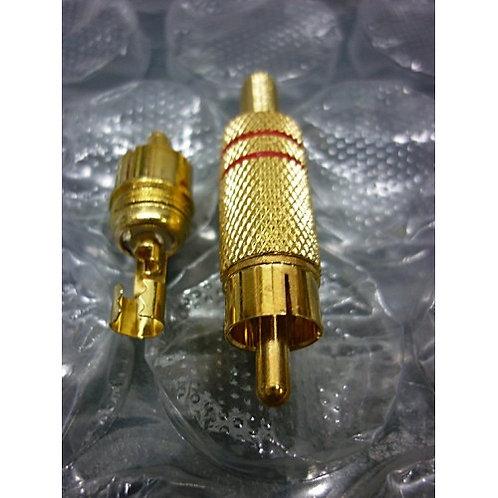 Plug RCA macho Ouro 3 mm vermelho com anel  marca Gold