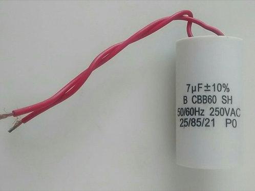 Capacitor de motor 7ufx 250V BCBB60SH  5060Hz com dois 2 fios
