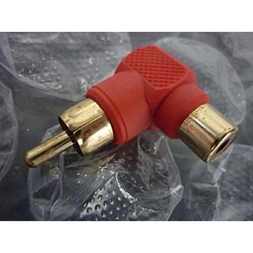Adaptador RCA femea X RCA macho 90 vermelho  marca Emetall