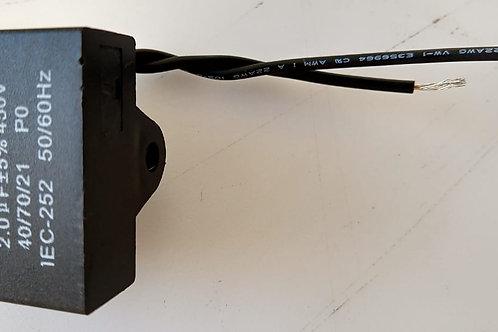 Capacitor  Poliester de Ventilador CBB61  2UF X 450VAC Retanguiar marca HANDING