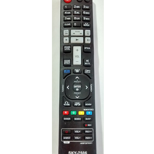 Controle Remoto DVD LG Home theater Bluray SKY7506 AKB72976001