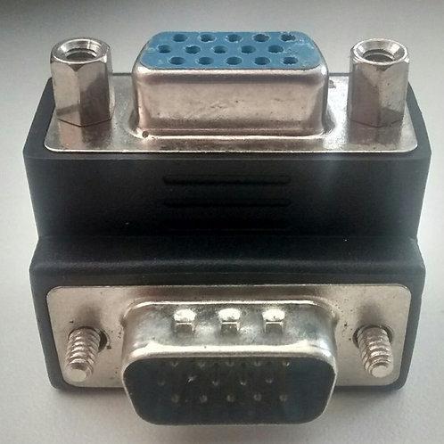 Adaptador VGA macho x VGA femea 90 emenda
