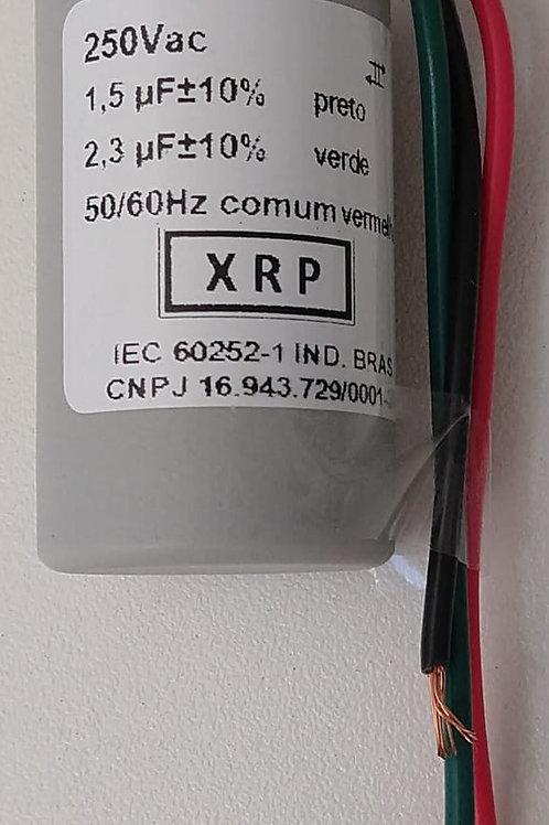 Capacitor de motor 15uf X 23uf x 250vac  Com 03 fios  Marca XRP