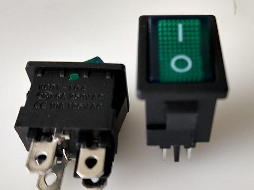 Chave Gangorra  KCD1104N onoff Verde com neon 4 terminais  stereio   6A  250V