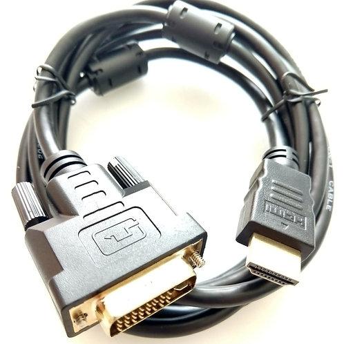 Cabo DVI Macho 245 pinos Analogico X HDMI Macho 2 mt