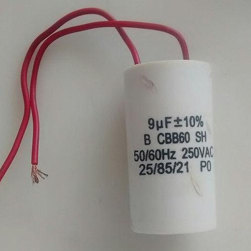 Capacitor de motor 9uf x 250V BCBB60SH 5060Hz  com 2 fios