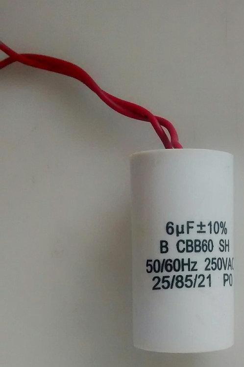 Capacitor de motor 6uf x 250V BCBB60SH  2060Hz com 2 fios