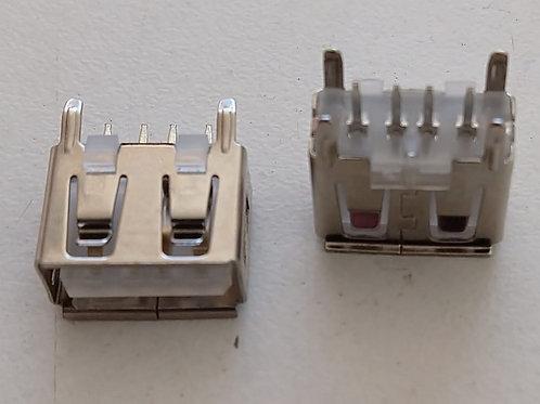 Conector USB femea com 4 pinos  suporte para placa 10mm Pionner