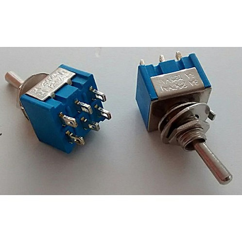 Chave mini OnOff  3 posicoes Sterereo com 6 polos azul 8A  250V