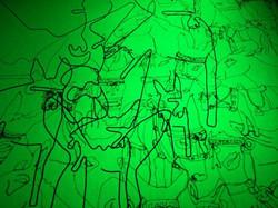 Donkey Fest, Close up Drawing with stitc