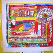 drawing from collaged inspiration board