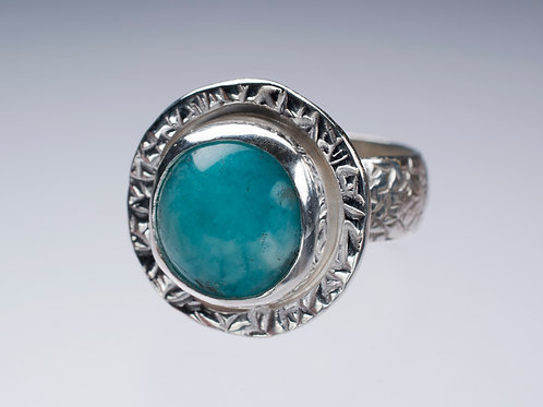 Sterling and Amazonite Halo Ring