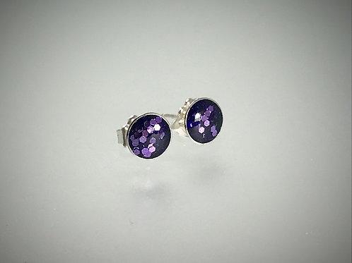 Sterling Large Metal Flake Purple Resin Post Earrings