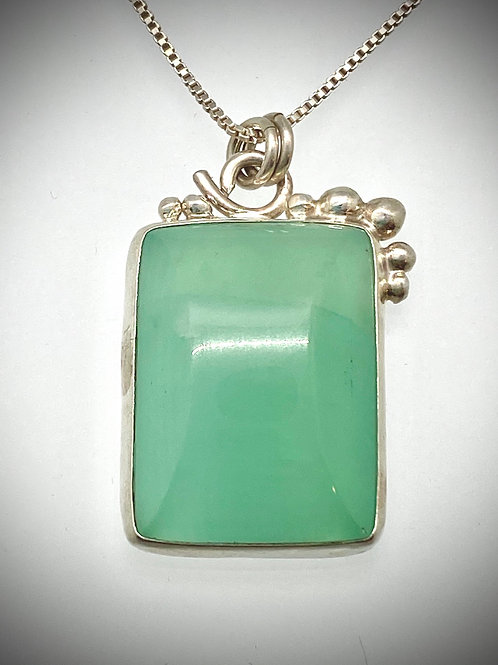 Sterling and Aqua Serpentine Bauble Necklace