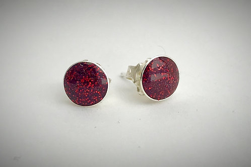 Large Sterling Cherry Red Resin Post Earrings